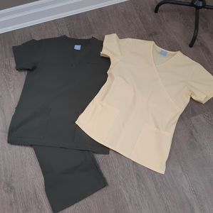 Dever Hayes scrubs in size small. Dark green set with a Yellow top